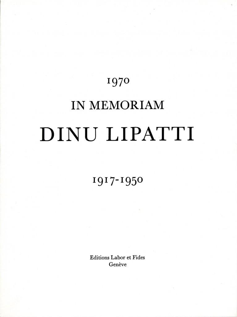 In memoriam Dinu Lipatti