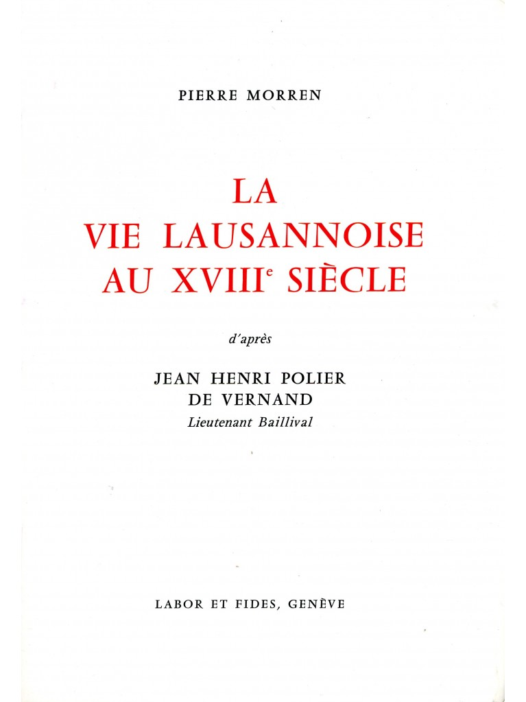 La vie lausannoise au XVIIIe siècle